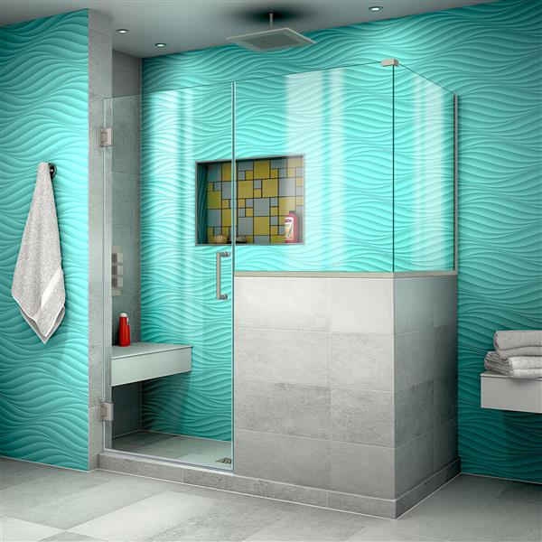 paroi de douche en verre unidoor plus de dreamline porte a charniere 58 po nickel brosse