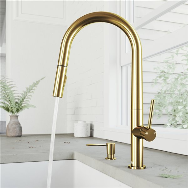 vigo greenwich pulldown spray kitchen faucet and soap dispenser matte brushed gold