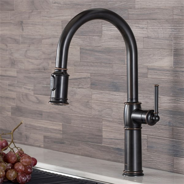 kraus sellette pull down kitchen faucet single handle 16 5 in oil rubbed bronze