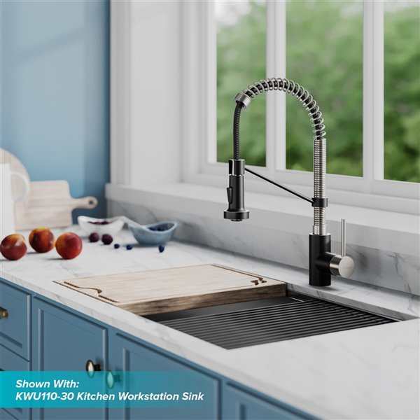 kraus bolden pull down kitchen faucet single handle 18 in stainless steel matte black