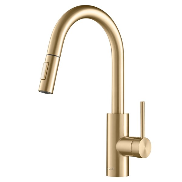 kraus oletto pull down kitchen faucet single handle brushed brass
