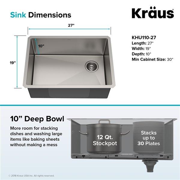 kraus standart pro undermount kitchen sink single bowl 27 in stainless steel