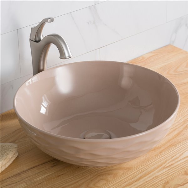 kraus viva round vessel bathroom sink 16 50 in beige