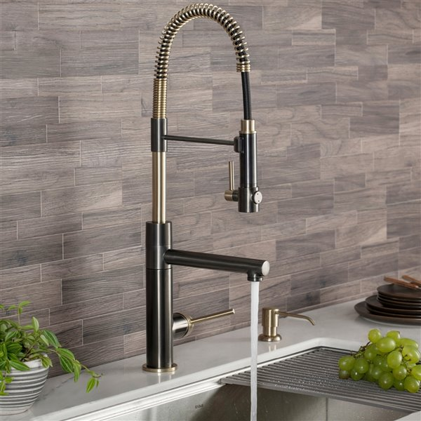 kraus artec pro pull down kitchen faucet single handle black stainless brushed gold