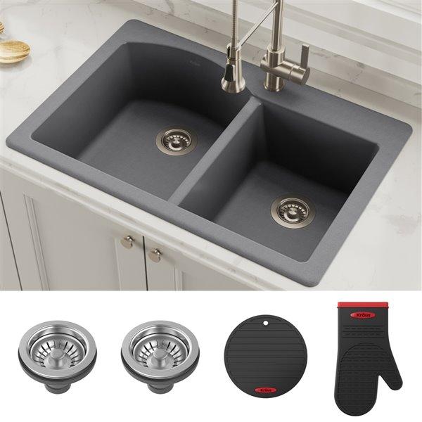 kraus forteza drop in undermount kitchen sink double offset bowl 33 in grey