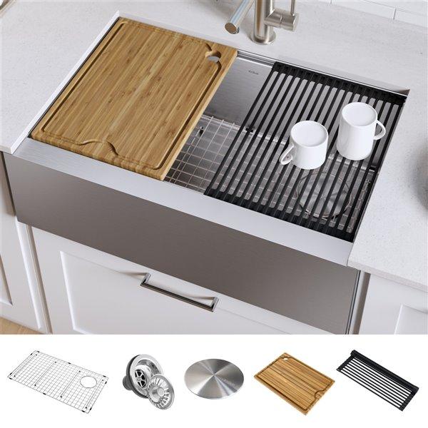 kraus kore apron front farmhouse workstation kitchen sink single bowl 29 88 in stainless steel