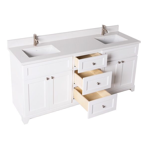 st lawrence cabinets london vanity with carrera quartz top double sink 72 in white