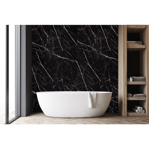 panneau decoratif mural surface design marbre noir 4 pi x 8 pi