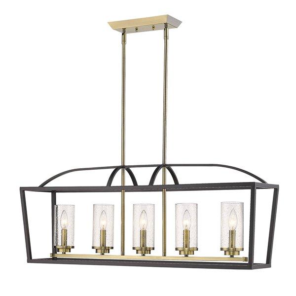 golden lighting mercer 5 light linear pendant light matte black