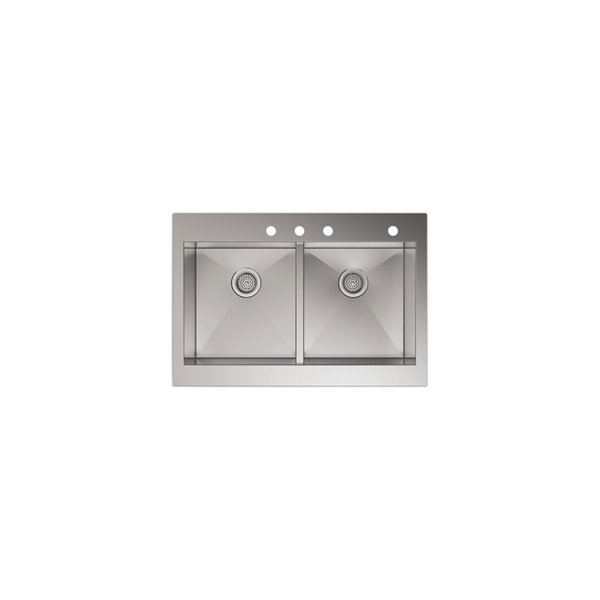 kohler self trimming top mount double equal apron front kitchen sink stainless steel 35 75 in