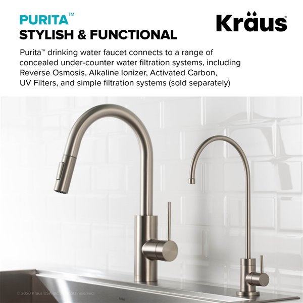kraus purita drinking water dispenser beverage kitchen faucet stainless steel