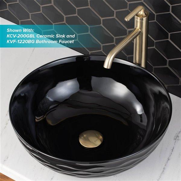 kraus brushed gold bathroom sink pop up drain