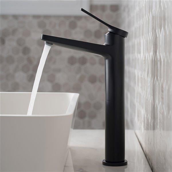kraus indy bathroom vessel sink faucet and pop up drain matte black