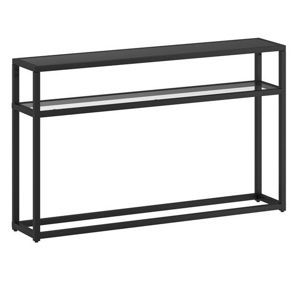 console nspire contemporaine a deux tablettes en metal et en verre noire 10 po x 50 po x 29 5 po