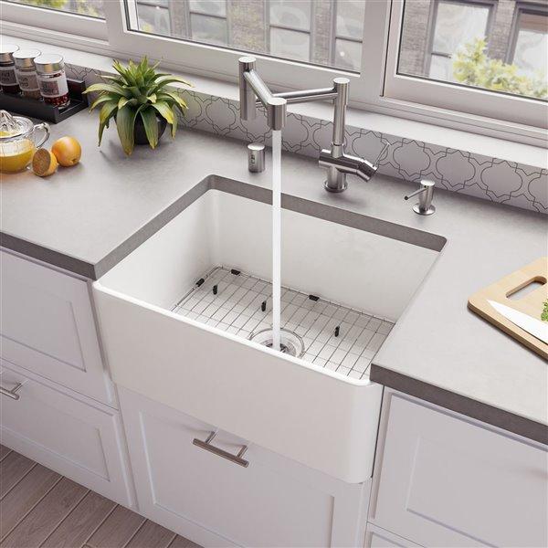 alfi brand abf2418 24 in white thin wall single bowl fireclay kitchen farm sink