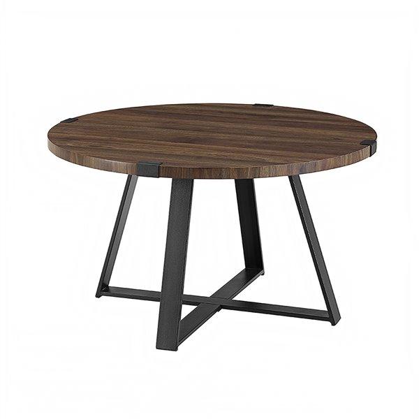 walker edison rustic wood and metal round coffee table dark walnut black