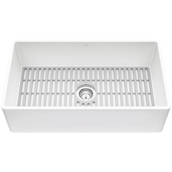 vigo farmhouse kitchen sink in matte white with drain 33 in