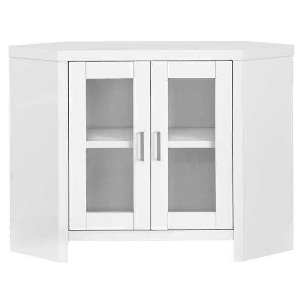 meuble tele en coin monarch avec 2 tablettes blanc et portes vitrees 42 po