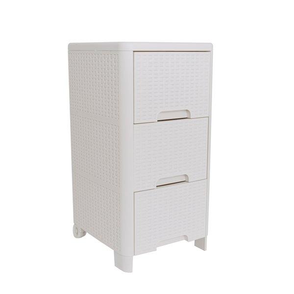 meuble de rangement modern homes a 3 tiroirs style rotin ivoire 13 po x 25 5 po x 15 po