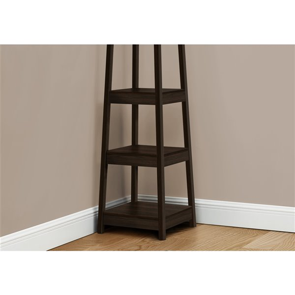 monarch specialties corner coat rack with 3 shelves espresso 72 in h