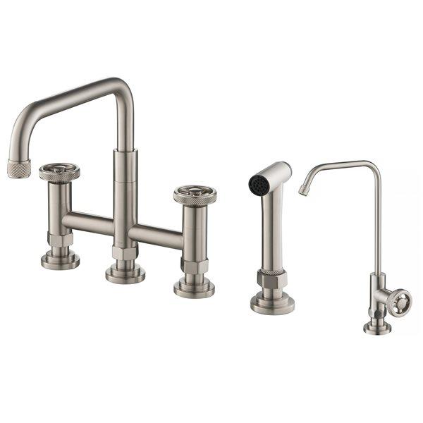 kraus bridge kitchen faucet and water filter stainless steel
