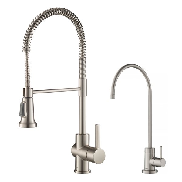 kraus commercial kitchen faucet and water filter stainless steel