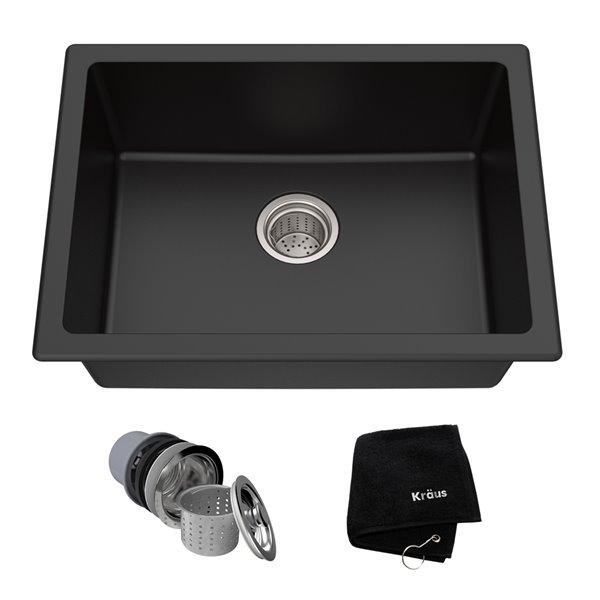 kraus dual mount kitchen sink single bowl 24 in onyx black granite