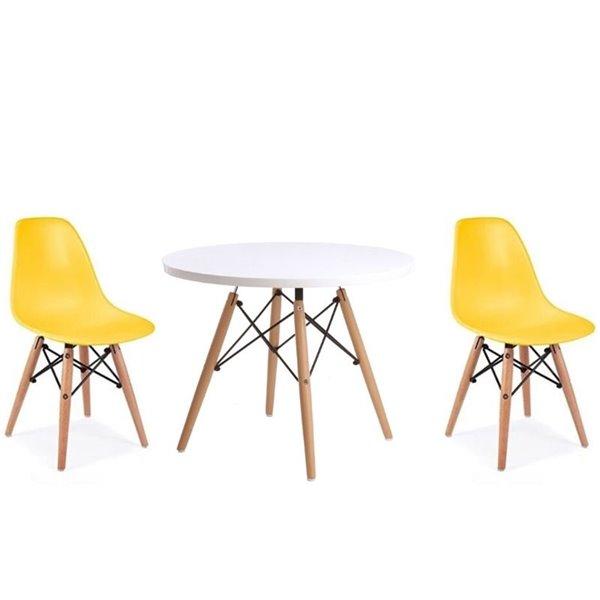ensemble pour enfants 2 chaises et 1 table style eames de plata import jaune et pied en bois