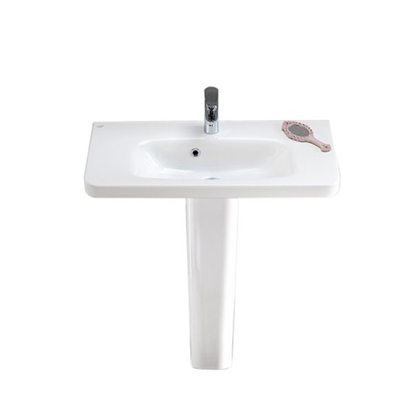 nameeks noura rectangular pedestal sink in white 32 in x 31 5 in x 11 9 in
