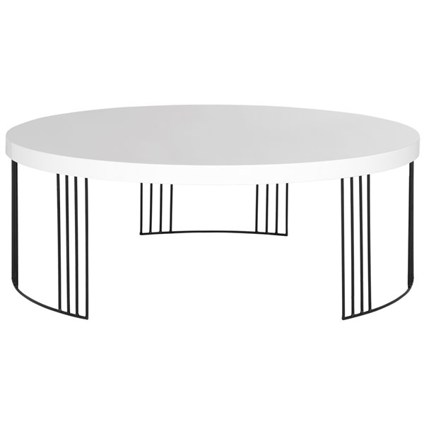 safavieh keelin midcentury scandinavian white lacquer coffee table 37 4 in diameter