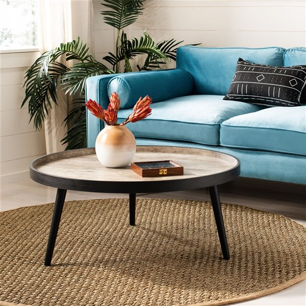 safavieh fritz light grey and black wood round tray top coffee table 35 4 in diameter