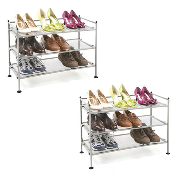 seville classics 3 tier shoe rack for 18 pairs satin pewter pack of 2