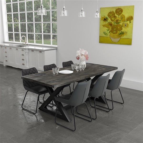 ens salle a manger moderne rustique avec table noire de worlwide homefurnishings gris argent 7 pieces