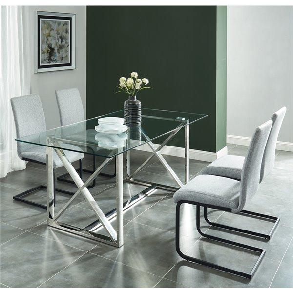 ens de salle a manger contemporain avec table en verre de worldwide homefurnishings argent gris 5 morceaux