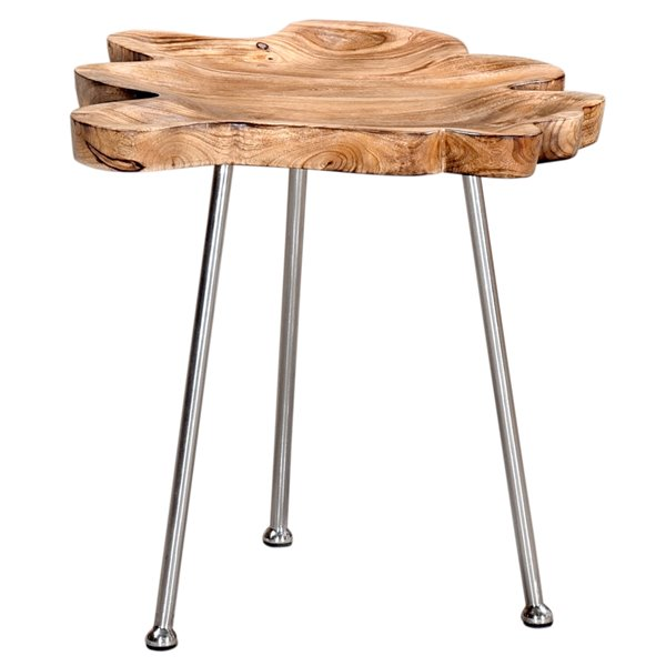 nspire rustic modern live edge end table natural mango wood table top