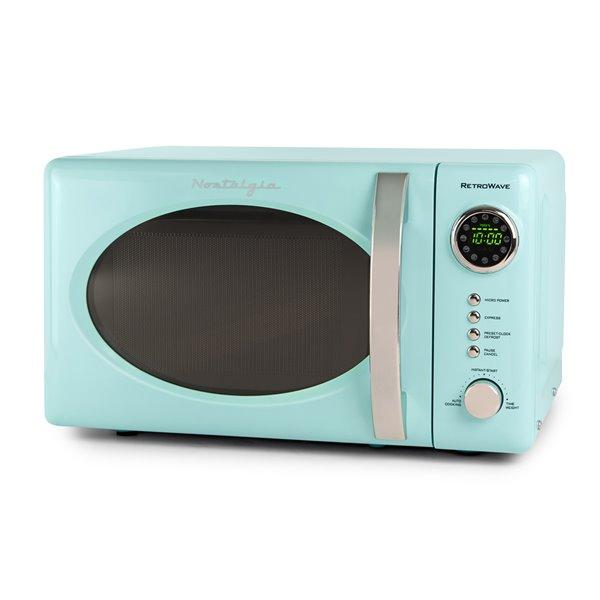 nostalgia retro 700 watt countertop microwave oven aqua 0 7 cu ft
