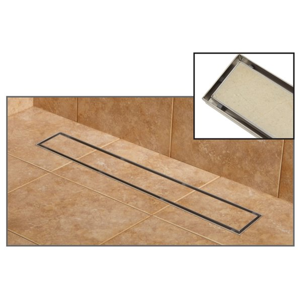 towo linear shower drain tile in 24 in x 3 in stainless steel