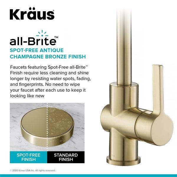 kraus spot free kitchen faucet antique champagne bronze