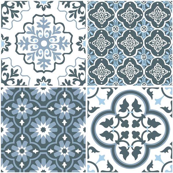 floorpops myriad peel and stick vinyl tile 12 in x 12 in blue 10 piece