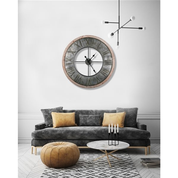 artmaison canada analog 31 5 in round wall clock roman numeral metal wood grey