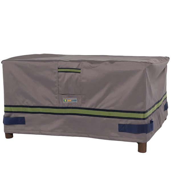duck covers soteria rain proof rectangular patio ottoman table cover polyester 36 in grey