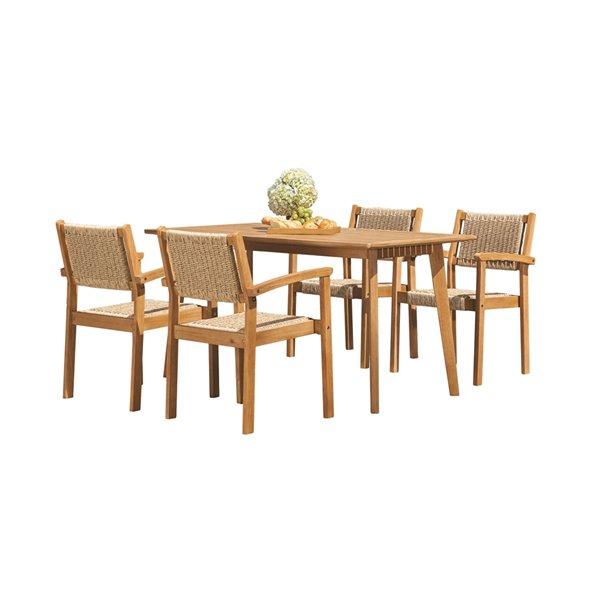 vifah chesapeake patio dining set wood brown 5 pieces