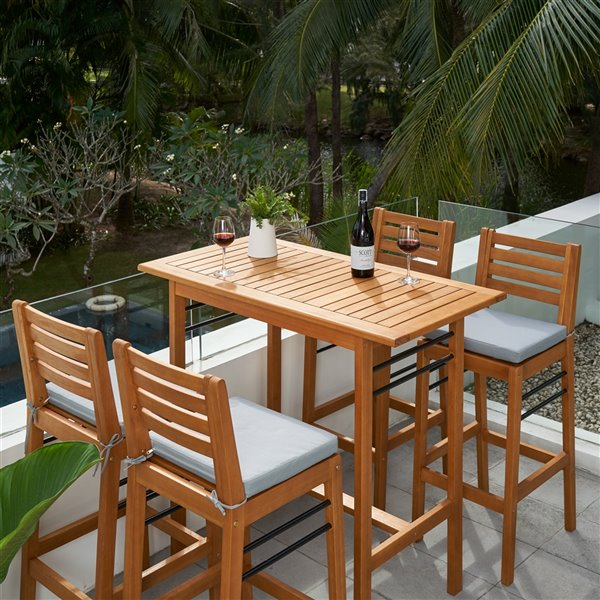 vifah gloucester patio counter height dining set teak like and polyester brown and blue 5 pieces