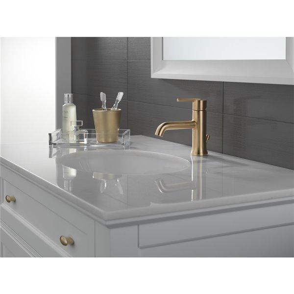 delta trinsic bathroom faucet 1 handle champagne bronze