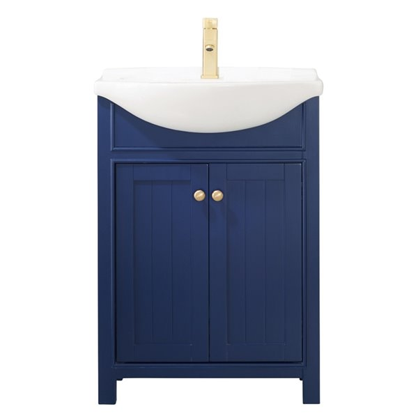 design element marian 24 in blue single sink bathroom vanity with white porcelain top