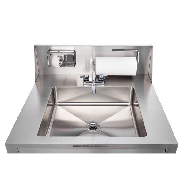 ancaster food equipment 1 basin stainless steel freestanding portable utility sink with drain and faucet 32 in x 29 25 in