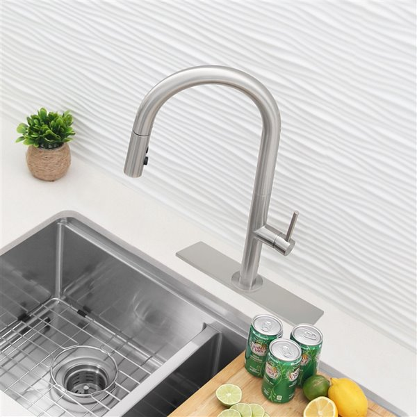 stylish kitchen faucet hole cover plate brushed nickel