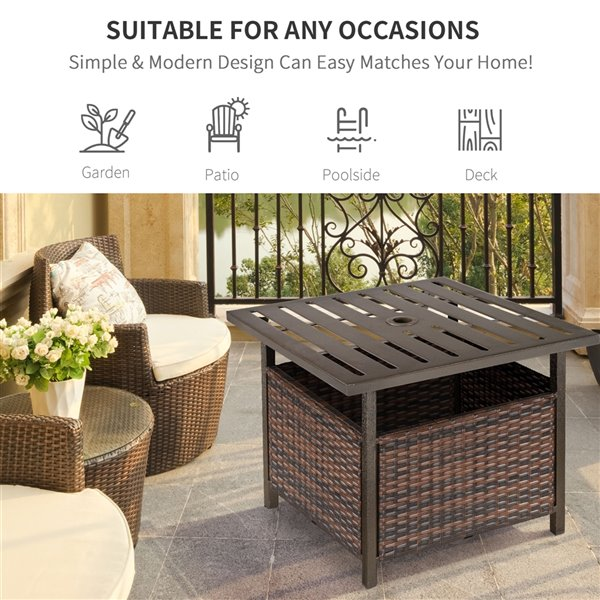 outsunny brown square rattan outdoor end table 21 9 in w x 21 9 in l with umbrella hole