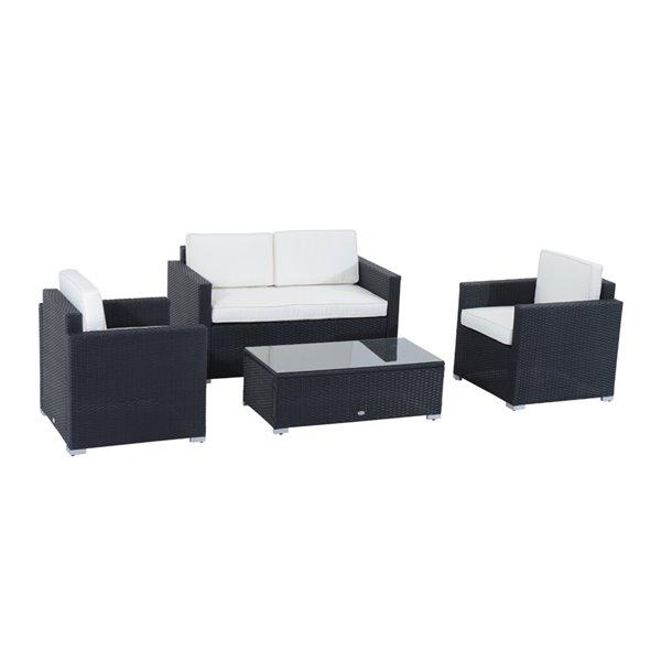 outsunny 4pcs rattan wicker sofa garden patio furniture with cushions