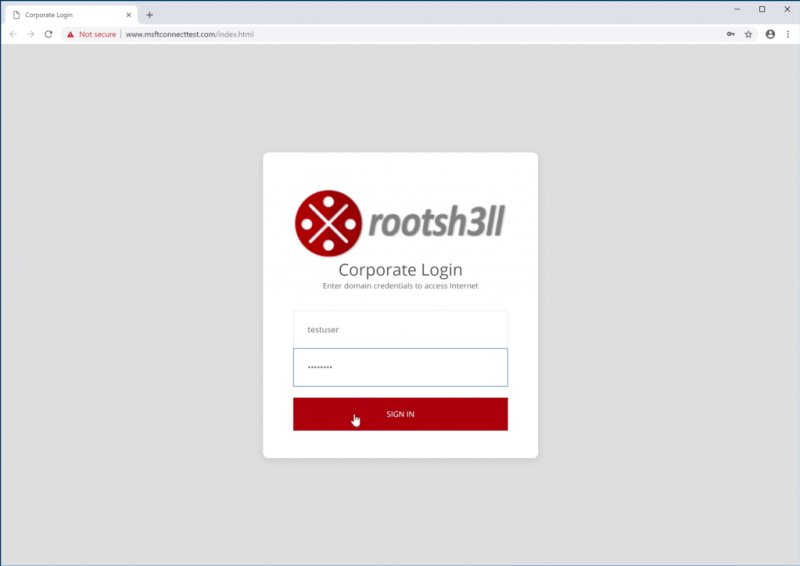 Captive Portal Login Screen